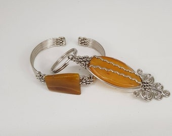 African Hand Made Agate Gem Bracelet and Matching Key Chain Set