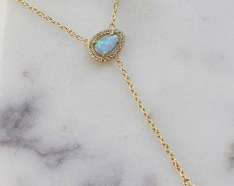 Opal chain lariat necklace