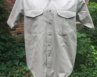 80s Filson short sleeve starched two-pocketed button down oxford shirt sz L, authentic vintage, made in usa