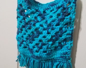 Ocean blue fringe crochet mini tote