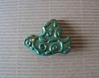 Green patinated bird brooch floral
