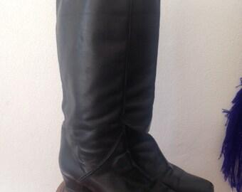 80's leather Knee High Boots I VINTAGE I size 38/37.5 Eu