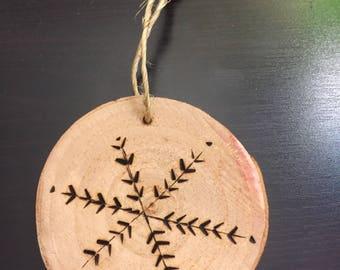 Wooden Burned Ornament Snowflake