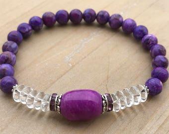 Women's Bracelet, Sugilite Bracelet, Clear Quartz Bracelet, Yoga Bracelet, Boho Bracelet, Spiritual Bracelet, Healing Bracelet, Gift for Her