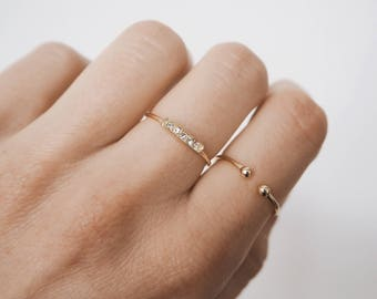 Open ball ring, open ring, stacking ring, gold stacking ring, dainty ring, gold dainty ring, R052