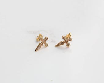 Gold Cross Studs, Gold Studs, Stud earrings, Gold Stud earrings, For her, Cross gold earrings, Minimalist earrings,Minimalist jewellery