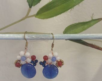 "Earrings blue agate, Carnelian and Swarovski Crystal, model ""bridal bouquet"""