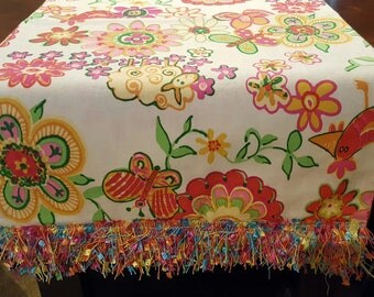 Bright colored Table Runner/Dresser Scarf with Confetti Trim