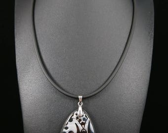 Black and silver pendant necklace choice, resin