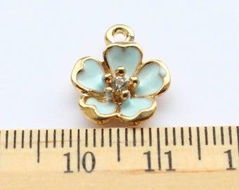 5 Mint Blue Flower Pendant Charms
