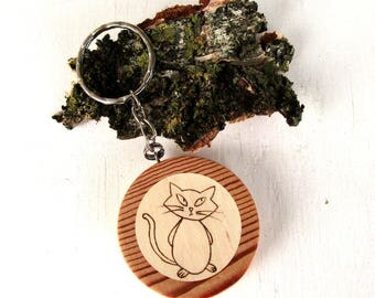 Keyring personalized, keychain cat, custom wooden keyring with name, personalized cat keychain, cat plaque, cat sign