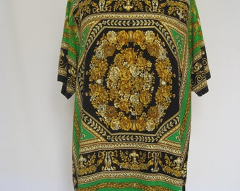 short vintage dress shirt kleid tunika Versace-Style great pattern