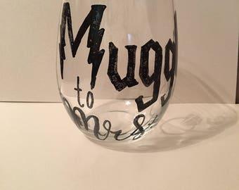 Harry Potter wine glass, muggle to mrs, engagement wine glass, Harry Potter, wine glass, wine glass for wedding, hand drawn wine glass