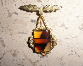Unique Vintage White Co. Gold Filled Hanging Bar Brooch Pin with Amber Glass SHIPS FREE