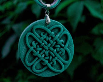 round celtic pendant green knotwork necklace round celtic knot old stone necklace small celtic knot celtic fantasy polymer clay