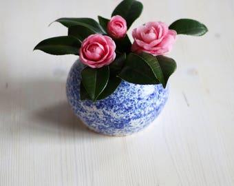 Blue Speckled Sphere Ceramic Vase