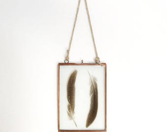 Antique Copper Metal hanging frame, feathers