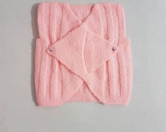 Knitted Baby Clothes, Pink Knitted Baby Vest, Baby Shower Gift, Gift for Baby, Elegant Knitted Top