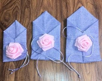 10pcs/Set Burlap Drawstring Wedding Gift Bags - Purple with Pink Rose