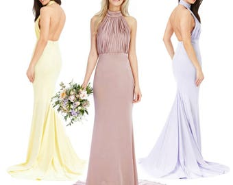 Lilac Purple Blush Pink Pastel Yellow Fishtail Maxi Prom Evening Ball Gown Bridesmaid Dress