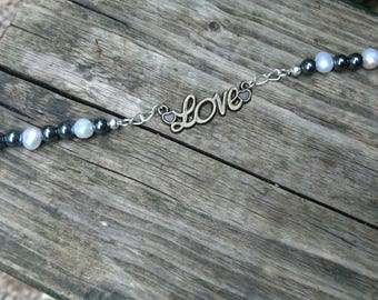 Freshwater Cultured Pearls and Polished Hematite Bracelet with 'Love' Charm