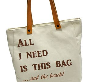 Beach Bag Tote with Leather Straps