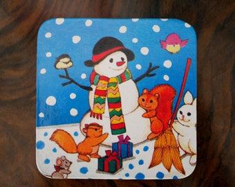 Kitsch Vintage Christmas Snowman Scene Coaster - Squirrel Robin Snow Presents - Retro Christmas