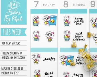 Laundry Basket Stickers Planner Stickers - Functional Stickers - Washing Machine Stickers Laundry Stickers - Happy Laundry Day