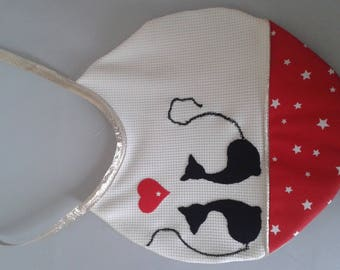 Small bib red and white cat baby