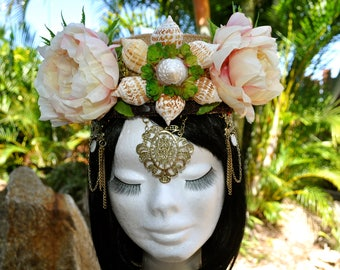 Beach Wedding Bridal Crown Tiara Woodland Elfin Fantasy Festival Hair Accessory Headband