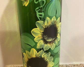 Hand-painted Yellow Sunflowers Wine Bottle