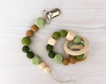 """Teething Bracelet and Paci Clip """"Camo"""" Set"""