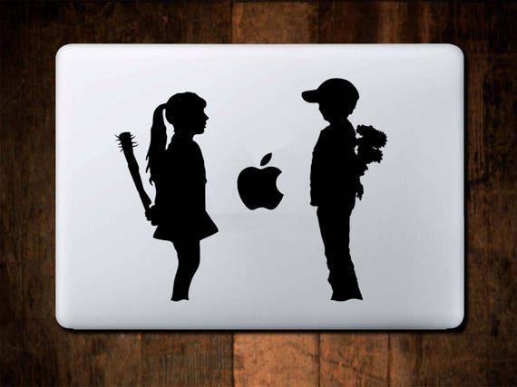 Banksy, Love and Hate Banksy Style Decal Sticker for Apple Macbook, Girl, Boy, Spikes, iMac, Skin, Vinyl, Diecut, kisscut, Laptop, mac