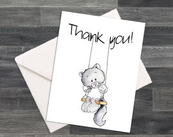 Set of Kitty Cat on a Swing Thank You Cards & Envelopes