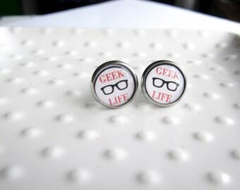 Geek Life Glasses Earrings  - Stainless steel Earrings - 12mm rounds - Epoxy resin - Sensitive Earrings - Nerdy Jewelry - Geeky Quote - red