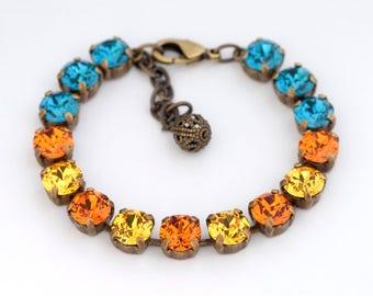 Tangerine Orange Swarovski Crystal Bracelet, Orange Rhinestone Bracelet, Teal and Orange Crystal Jewelry, Teal Swarovski Bracelet, Gitte