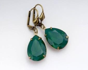 Dark Green Earrings, Green Jewelry, Green Crystal Jewelry, Swarovski Crystal Earring, Green Rhinestone Earring, Green Drop Earring, Francene