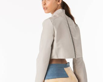 Black Tea Apparel - Grey Long Sleeve Cropped Shirt
