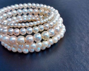 Beaded Pearl Memory Wire Bracelet - Silver or White