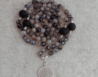 Prayer Chain (mala) made of snake agate, lava beads and the flower of life, 925 silver