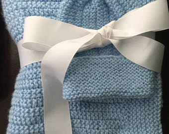 Gorgeous hand knit baby blue blanket and cap