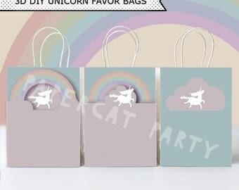 Unicorns & rainbows Favor Bags/ Unicorn Birthday Favors/ Gift bag/ Goody/ Treat/ Printable Decoration/ Paper PDF kit instant Download/ DIY