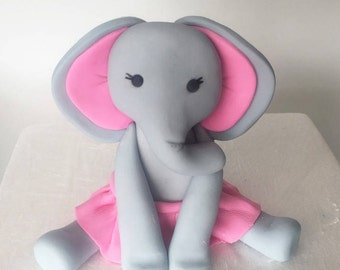 Baby Elephant Cake Topper, Baby Shower Elephant Cake Topper. 1st Birthday Girl Elephant Cake Topper Fondant. Fondant Elephant Cake Topper.