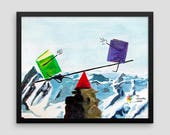 Balance the Books on a Mountaintop See-Saw Accounting Art Print, Accounting Humor, Accountant Gift, Finance Art, Accounting Office Decor