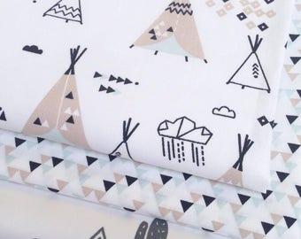 tissu a colorier imprim cactus et tipi blanc et noir. Black Bedroom Furniture Sets. Home Design Ideas
