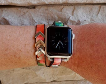 Double Wrap Leather Apple Watch Band Strap for iWatch, Adapter 38mm/42mm, Floral with Silver Accents