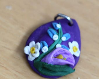 Miniature Floral Teardrop Bouquet Pendant, Floral Necklace, Handmade Polymer Clay Jewellery