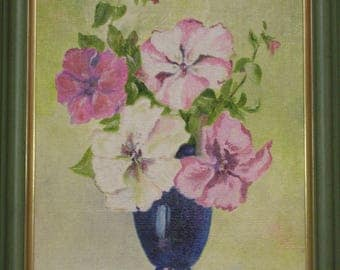 Oil painting petunias