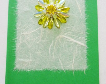 Beaded Flower Greetings Card