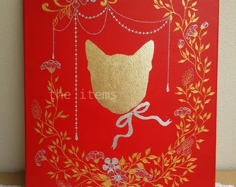 The cat // original acrylic gold plate mix media painting on canvas by JaAo
